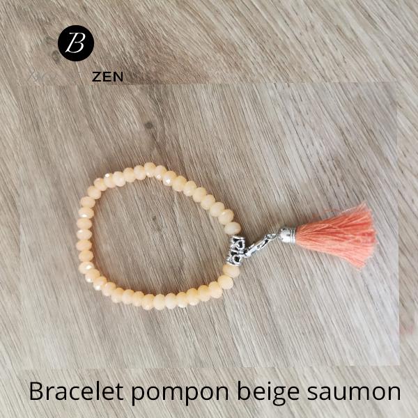 Bracelet-pompon-beige-saumon