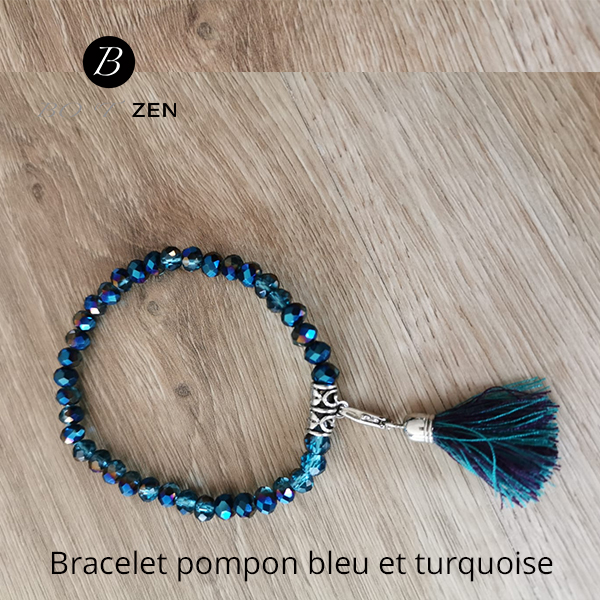 Bracelet-pompon-bleu-et-turquoise
