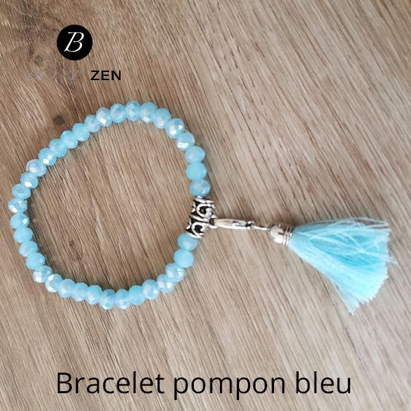 Bracelet-pompon-bleu
