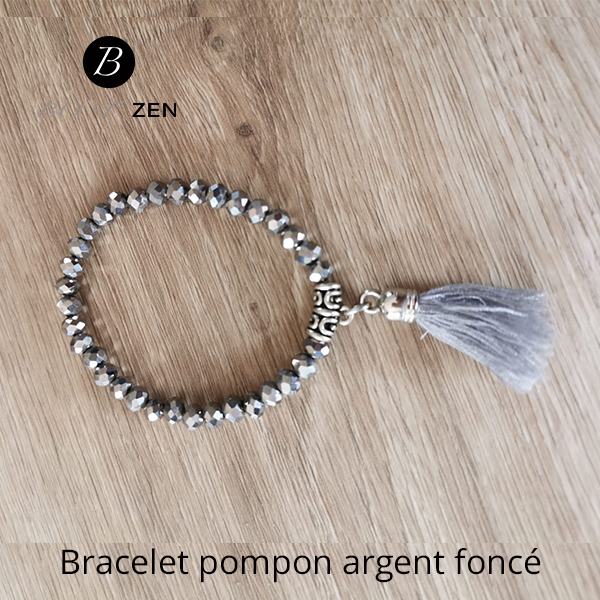 Bracelet-pompon-gris-argent-fonce