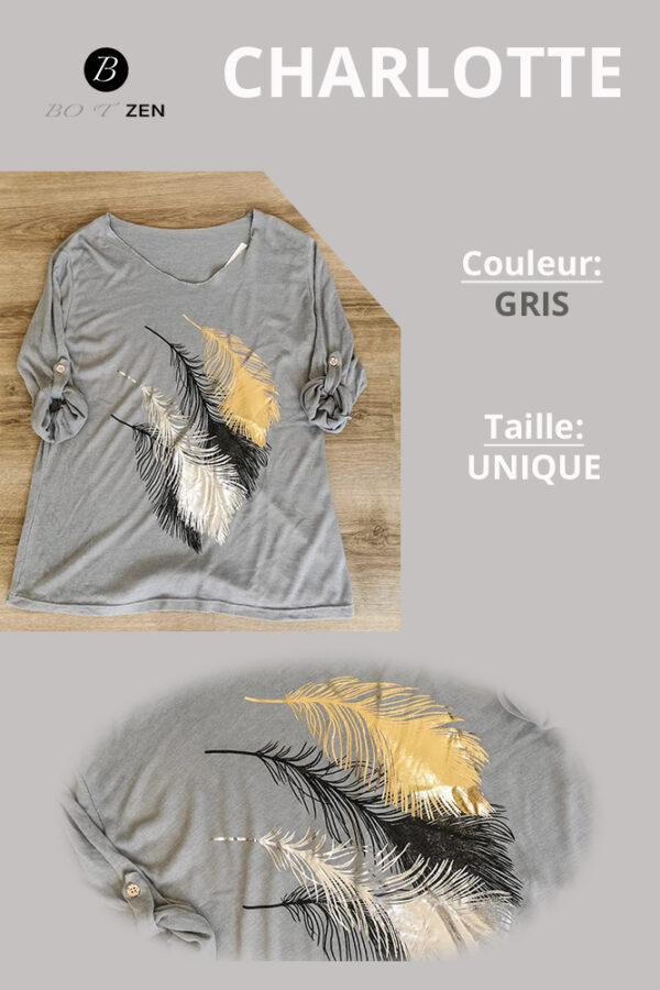 T-Shirt-gris-Manche longue charlotte collection botzen le havre