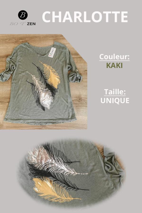 T-Shirt-Kaki-Manche longue charlotte collection botzen le havre