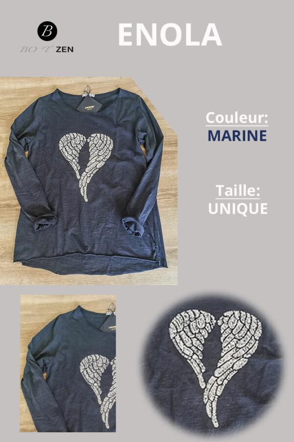 T-Shirt-Marine-Manche longue Enola collection botzen le havre