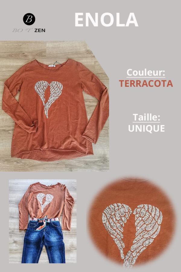 T-Shirt-Terracota-Manche longue Enola collection botzen le havre