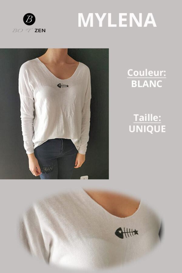 Pull fin coton blanc collection botzen le havre